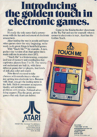 Handheld Touch Me game by Atari, 1978