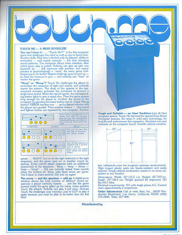 Scan of sales sheet for arcade video game version of touch me, Atari 1974