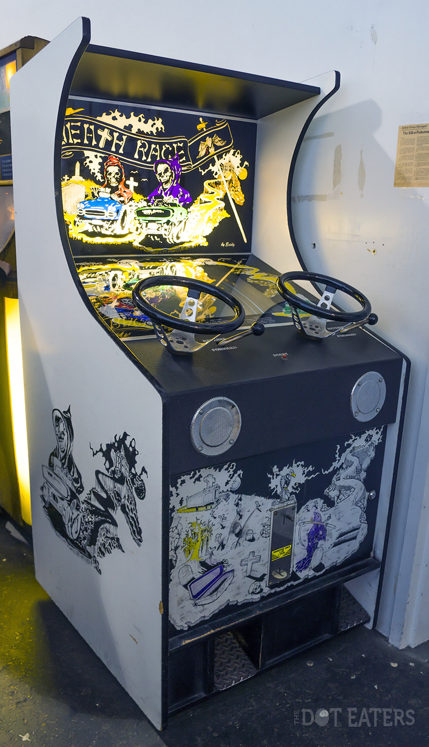 Death Race at the Musée Mécanique. San Francisco, an arcade video game by Exidy 1976