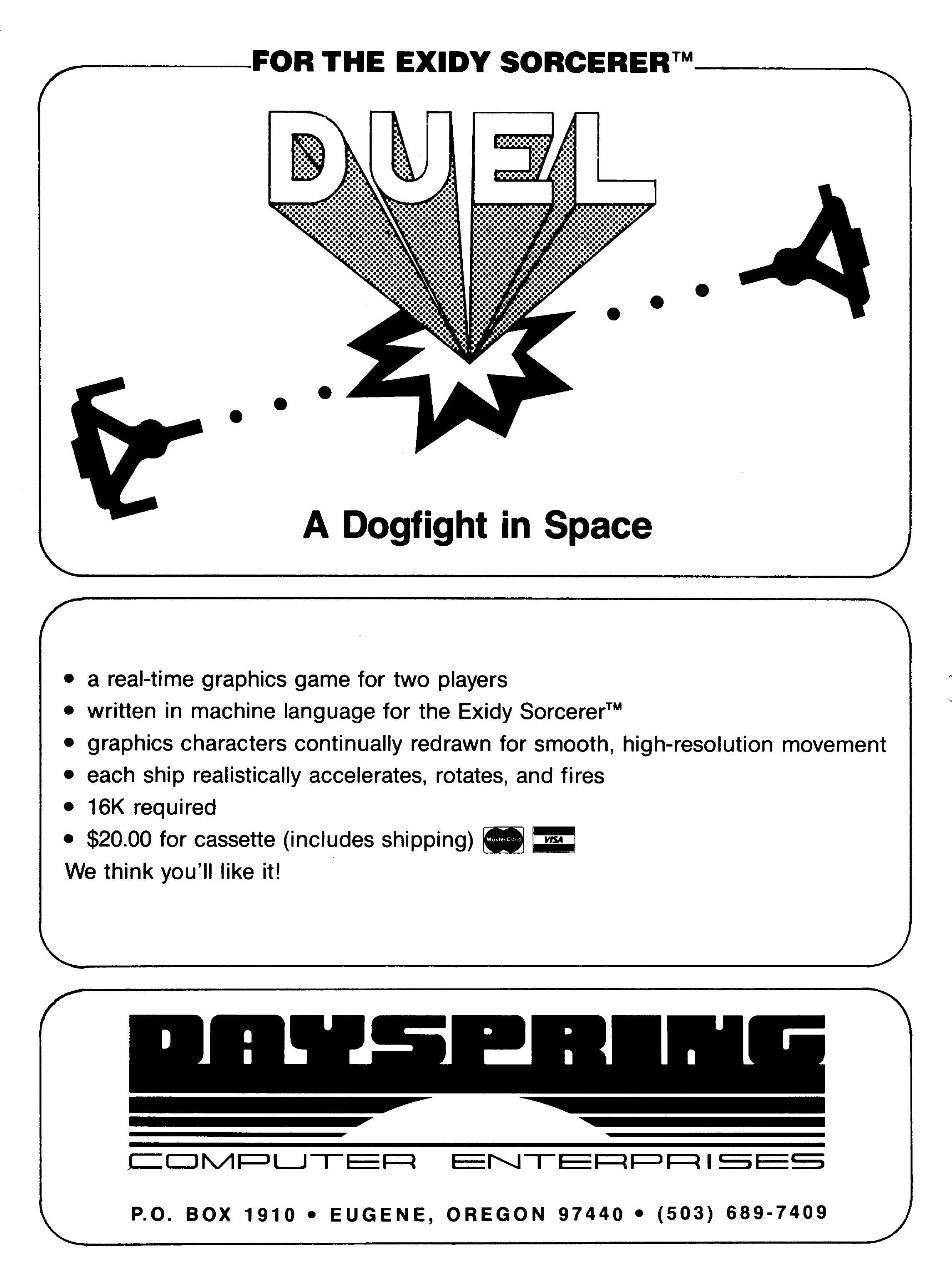 Duel, a Spacewar! computer game clone for the Sorcerer personal computer by the Exidy video game company