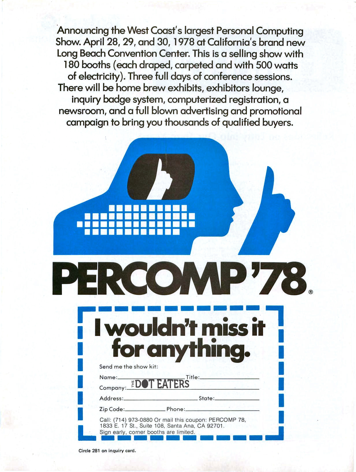 Ad for PERCOMP, a 1978 home computer exposition