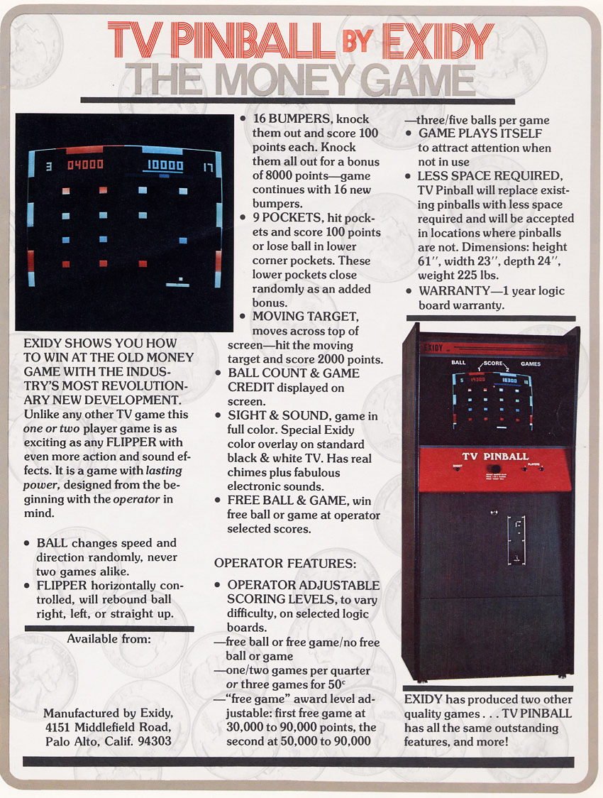 Flyer for TV Pinball, an arcade video game by Exidy 1975