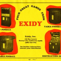 Flyer for games by Exidy, a maker of arcade video games, 1975