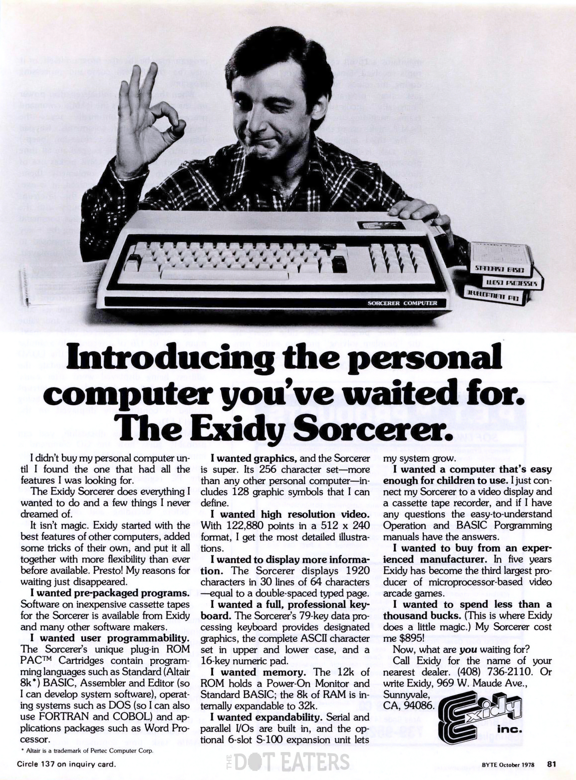 Ad for the Sorcerer, a personal computer by arcade video game maker Exidy, 1978