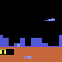 Defender, an arcade port for the Atari 2600 video game console