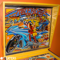 Backglass for Space Riders, a pinball game by Atari 1978