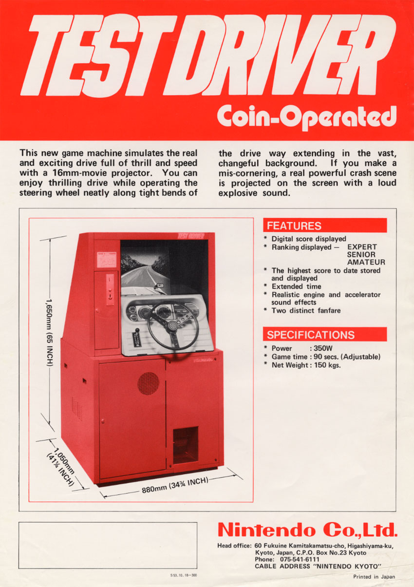 Test Driver, a coin-operated game designed by Gunpei Yokoi at Nintendo, 1978