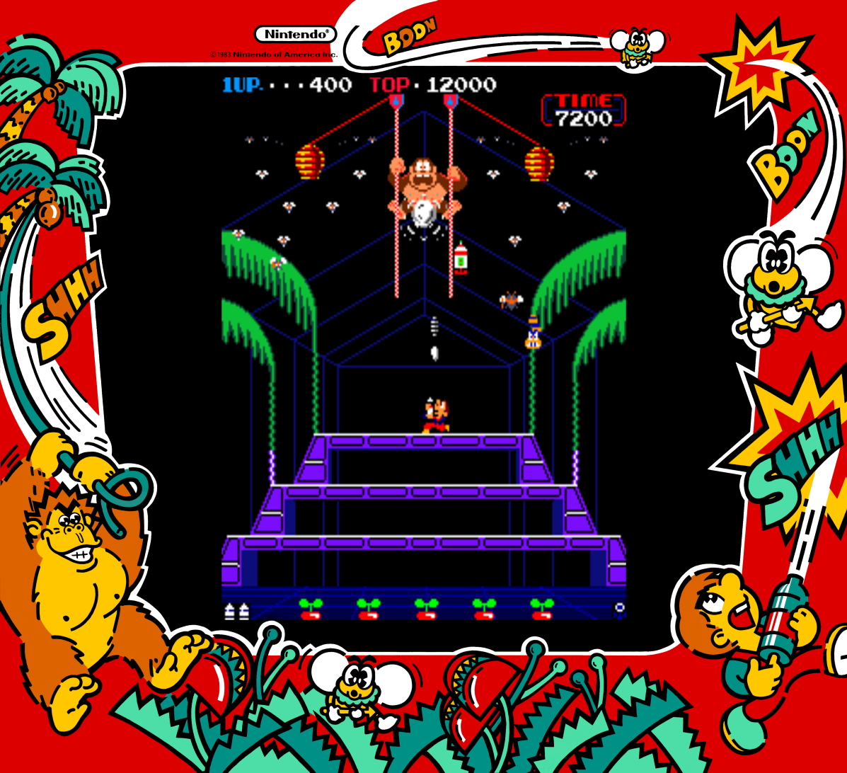 Donkey Kong 3, an arcade video game by Nintendo 1983
