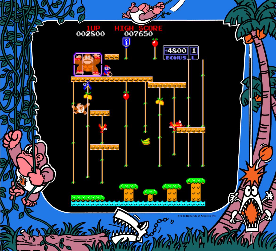 Screenshot of Donkey Kong Jr., an arcade video game by Nintendo 1982
