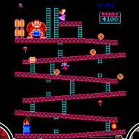Gameplay image of Donkey Kong, an arcade video game by Nintendo 1981