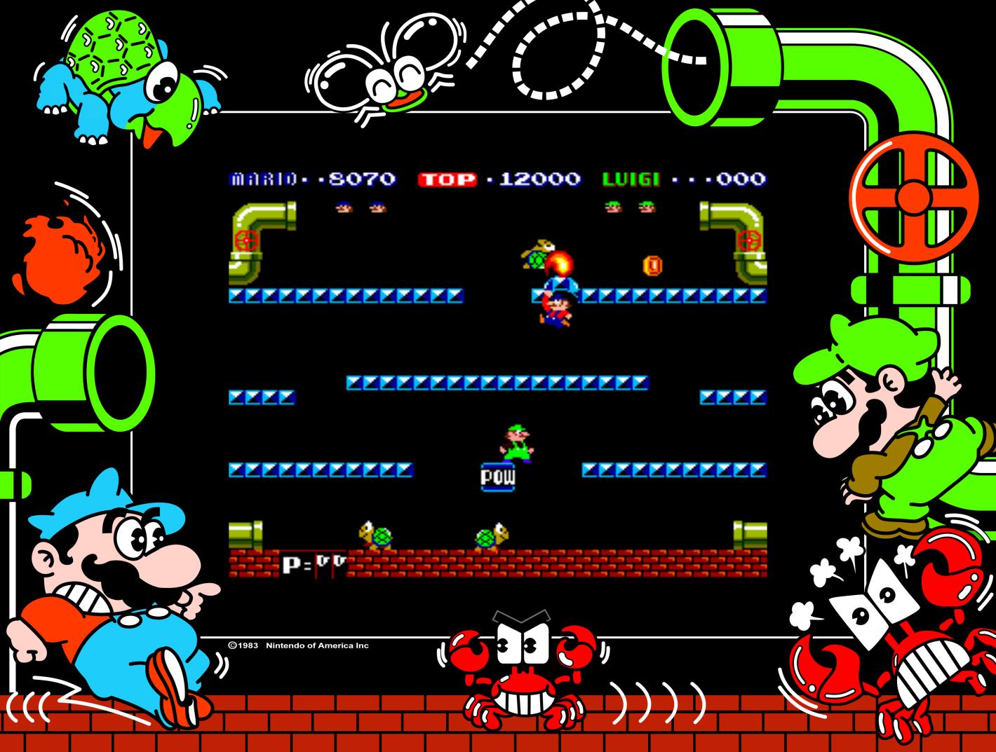 Mario Bros., an arcade video game by Nintendo 1983