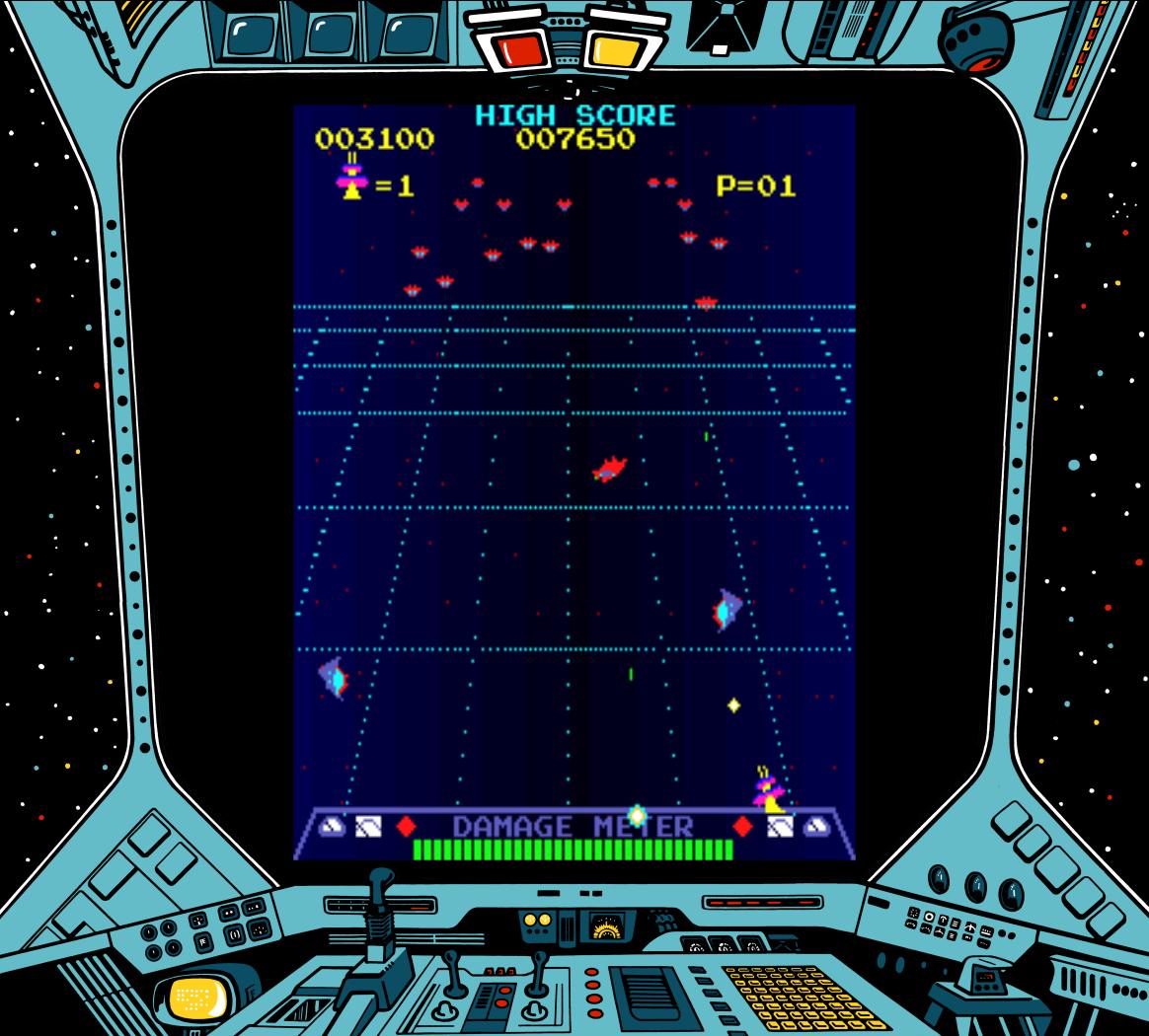 Gameplay image of Radarscope, an arcade video game by Nintendo 1981