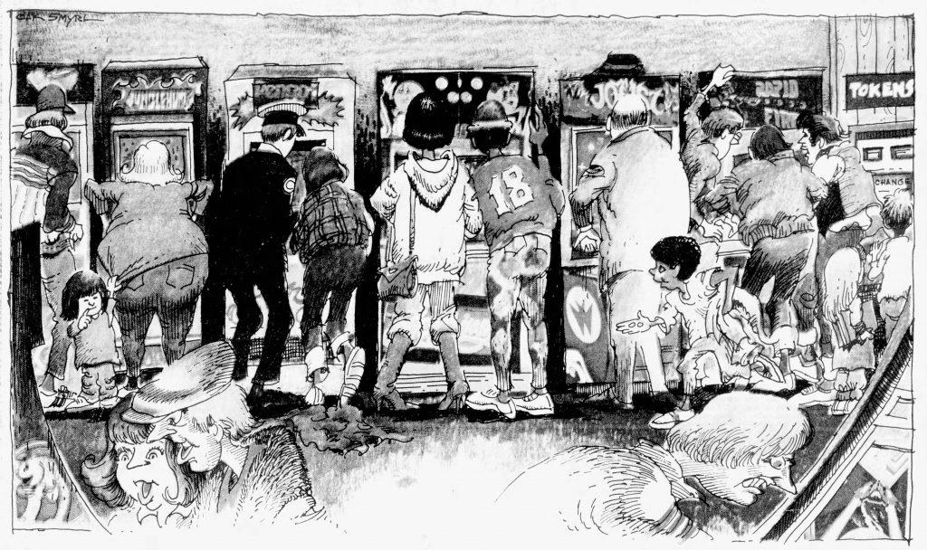 Illustration of a video game arcade, by Jak Smryl