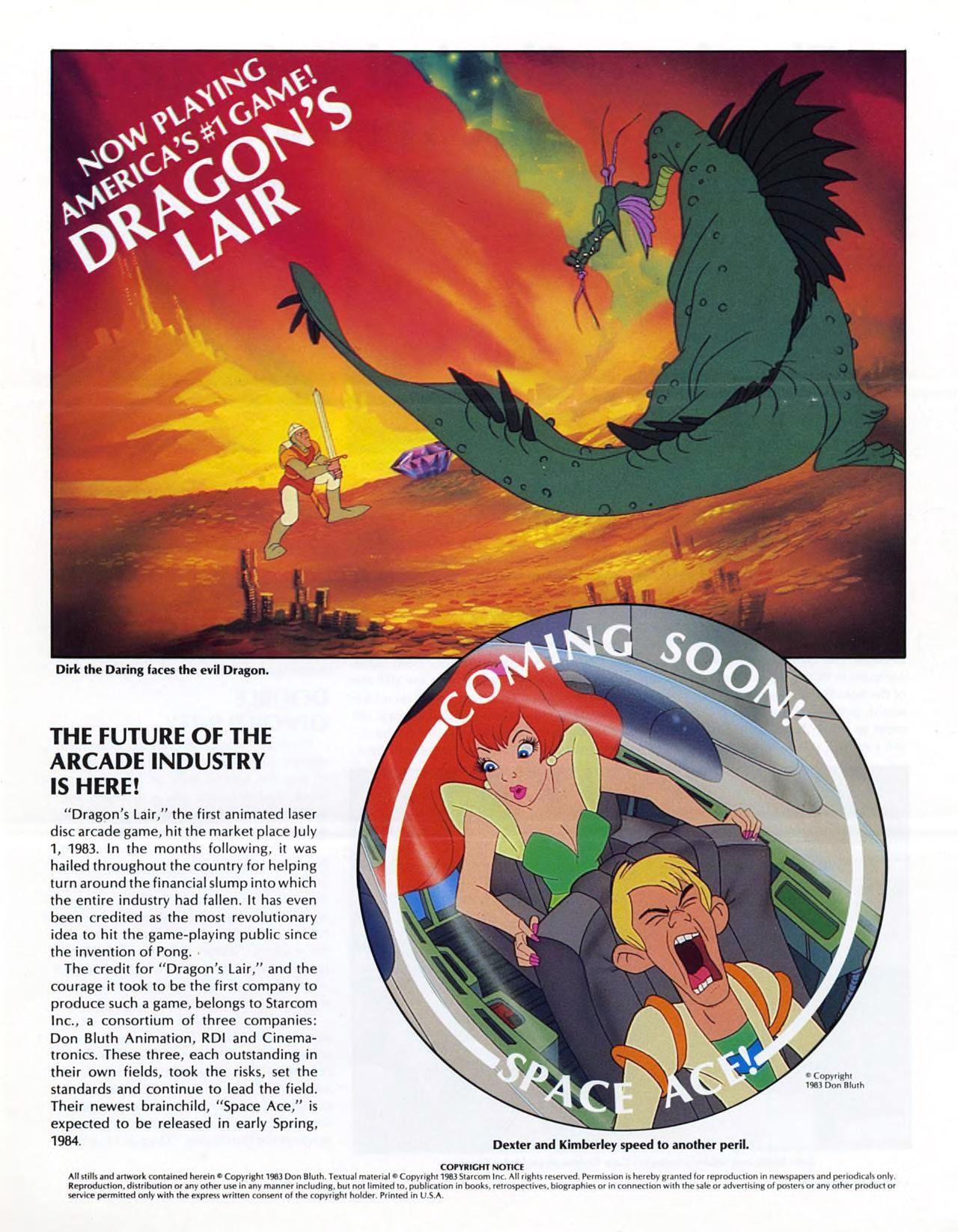 Dragons Lair, an arcade laserdisc game by Starcom