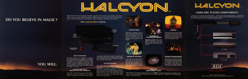 1984 flyer for the Halcyon Home Laserdisc video game system, from RDI Video Systems