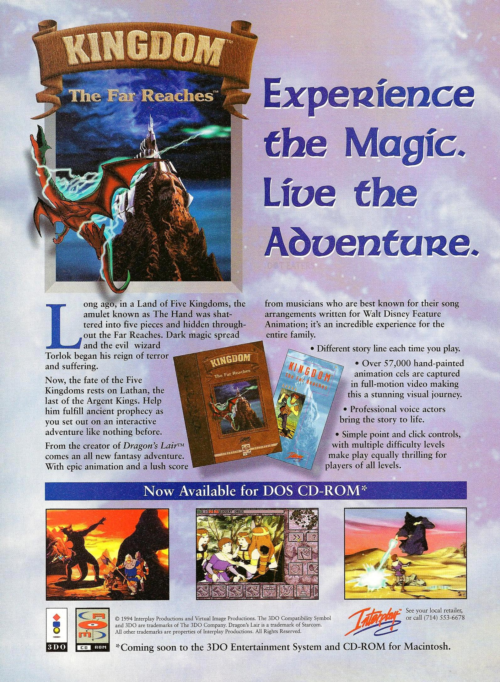 Ad for Kingdom: The Far Reaches, a computer video game by the creator of Dragon's Lair