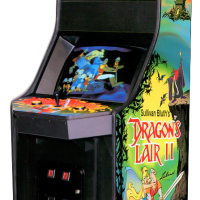 Cabinet for Dragon's Lair II, an arcade laserdisc video game from Sullivan Bluth/Leland 1992
