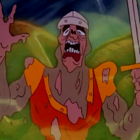Still from Dragon's Lair II: Time Warp, an arcade laserdisc video game by Sullivan Bluth/Leland 1992
