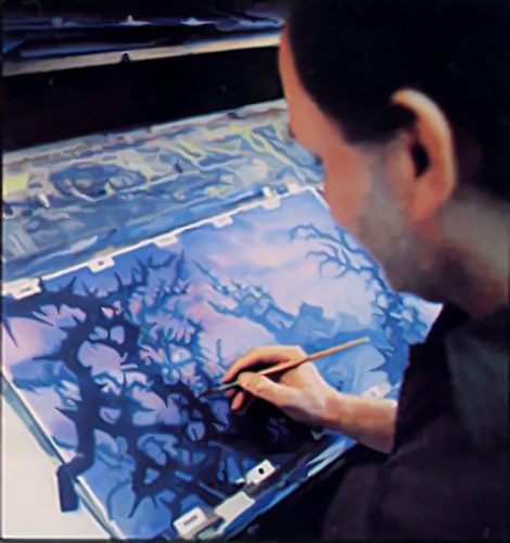 Backgrounds being painted for Dragon's Lair, an arcade laser disc video game by Don Bluth, 1983