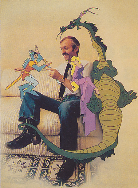 Animator Don Bluth and his creations from Dragon's Lair, an arcade laser disc game by Starcom 1983