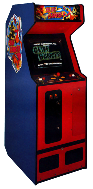 Cabinet for Cliff Hanger, an arcade laserdisc video game by Taito/Stern Electronics 1983