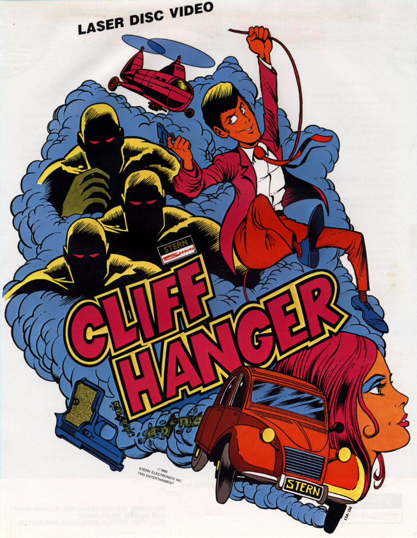 Sales flyer for Cliff Hanger, an arcade laserdisc video game by Stern Electronics 1983
