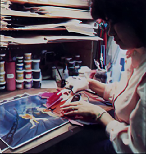 A cell being painted for Dragon's Lair, an arcade laser disc video game by Don Bluth, 1983