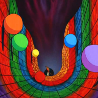 Rolling ball sequence from Dragon's Lair arcade laserdisc game, Starcom