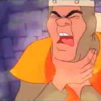 Screenshot from Dragon's Lair, an arcade laserdisc video game by Starcom/Cinematronics 1983