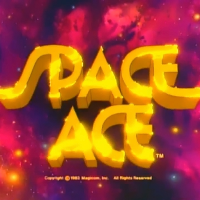 Title screen from Space Ace, an arcade laserdisc video game by RDI/Magicom