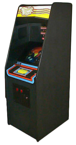 Cabinet for Thayer's Quest, an arcade laserdisc video game by RDI 1984