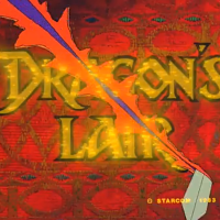 Screenshot from the opening of Dragon's Lair, an arcade laserdisc video game by Starcom/Cinematronics 1983