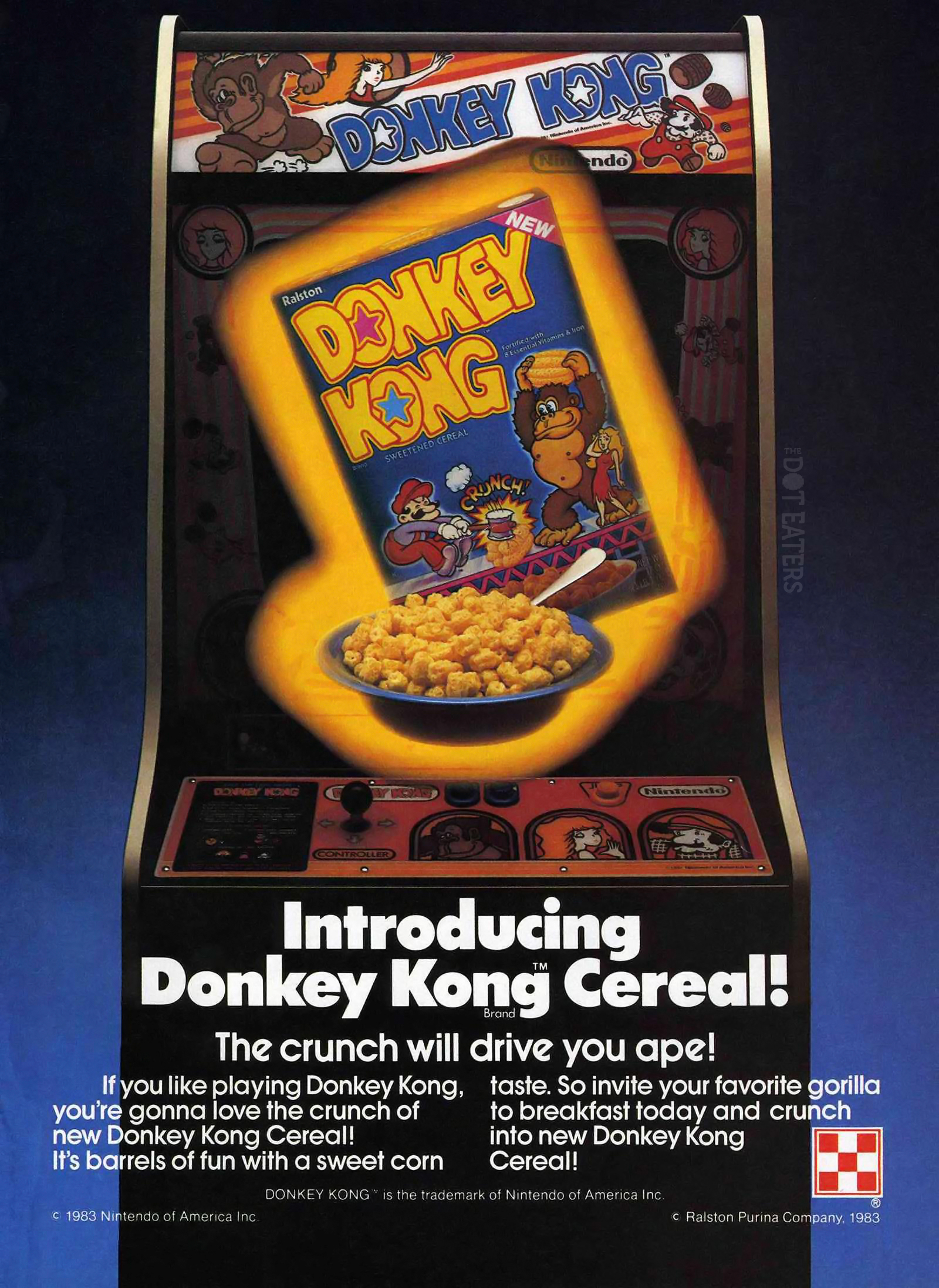 1983 ad for a cereal themed after Donkey Kong, an arcade video game by Nintendo