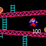 A screenshot from Donkey Kong, a video arcade game by Nintendo, 1981.