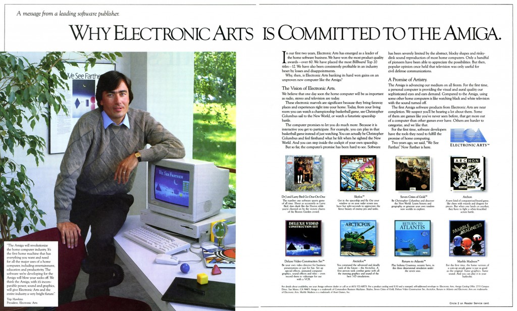 Electronic Arts ad featuring the Amiga, a home computer by Commodore 1985