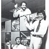 1985 image of Bing Gordon, Greg Riker and Joe Ybarra, management at Electronic Arts, a video game company