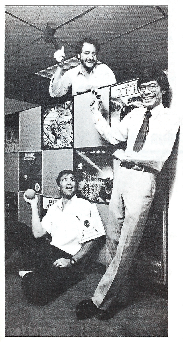 1985 image of Bing Gordon, Greg Riker and Joe Ybarra, management at Electronic Arts, a video game company