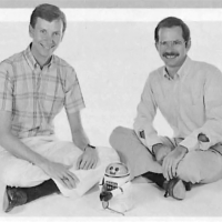 Image of Dan Bunten and Alan Watson, creators of Robot Rascals, a computer game by Electronic Arts 1986