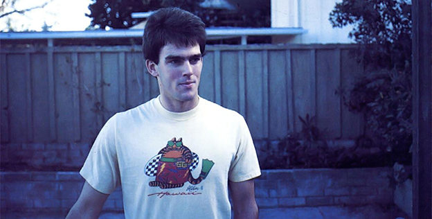 Photo of Eric Hammond, programmer of computer video basketball game One on One