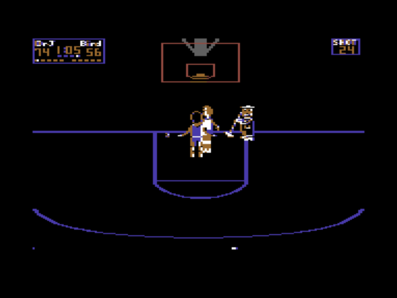 Snap from One on One, a computer game for the C64 by EA 1984