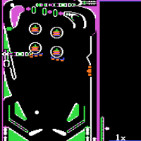 Snap of Raster Blaster, a computer pinball simulation by Bill Budge 1981