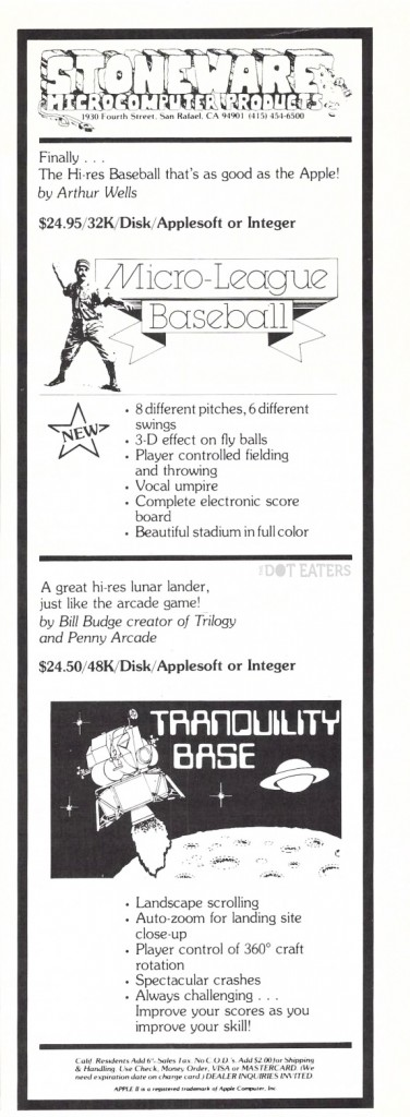 1980 ad for Tranquility Base, a computer game by Bill Budge