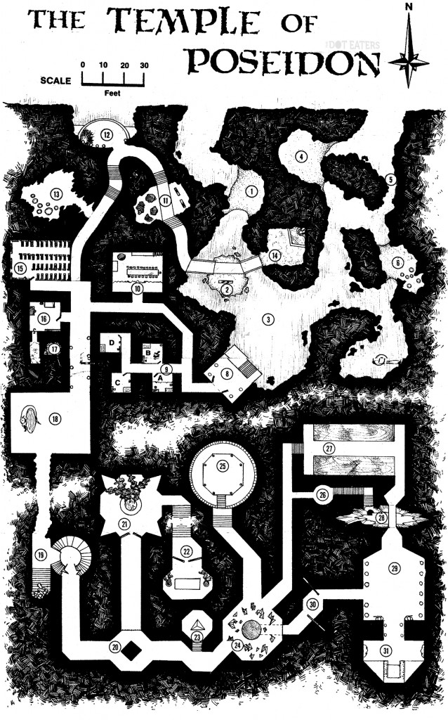 Map for 'Temple of Poseidon', 1980 AD&D module by Paul Reiche III