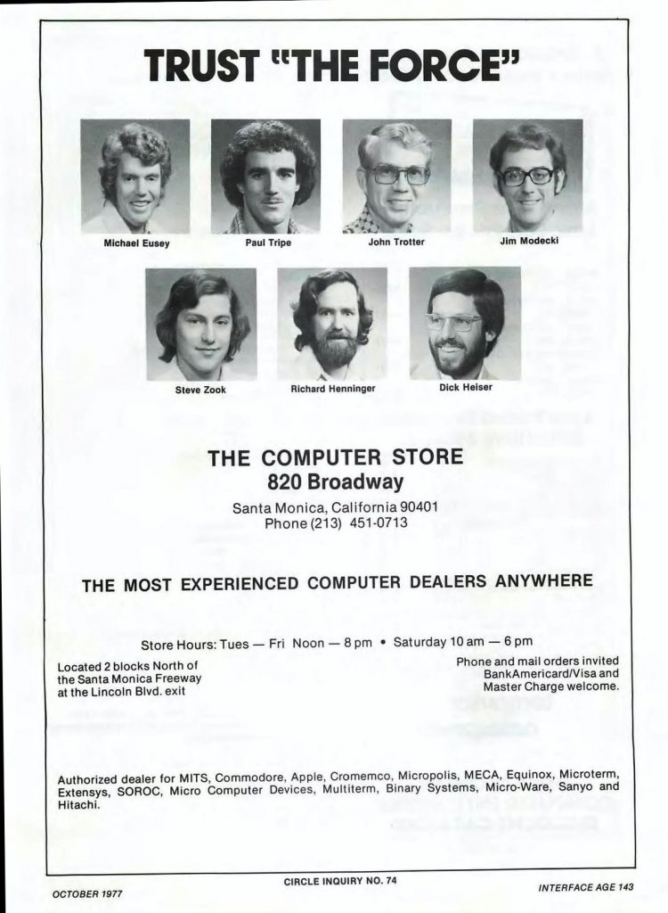 Ad for The Computer Store, an early home computer retailer