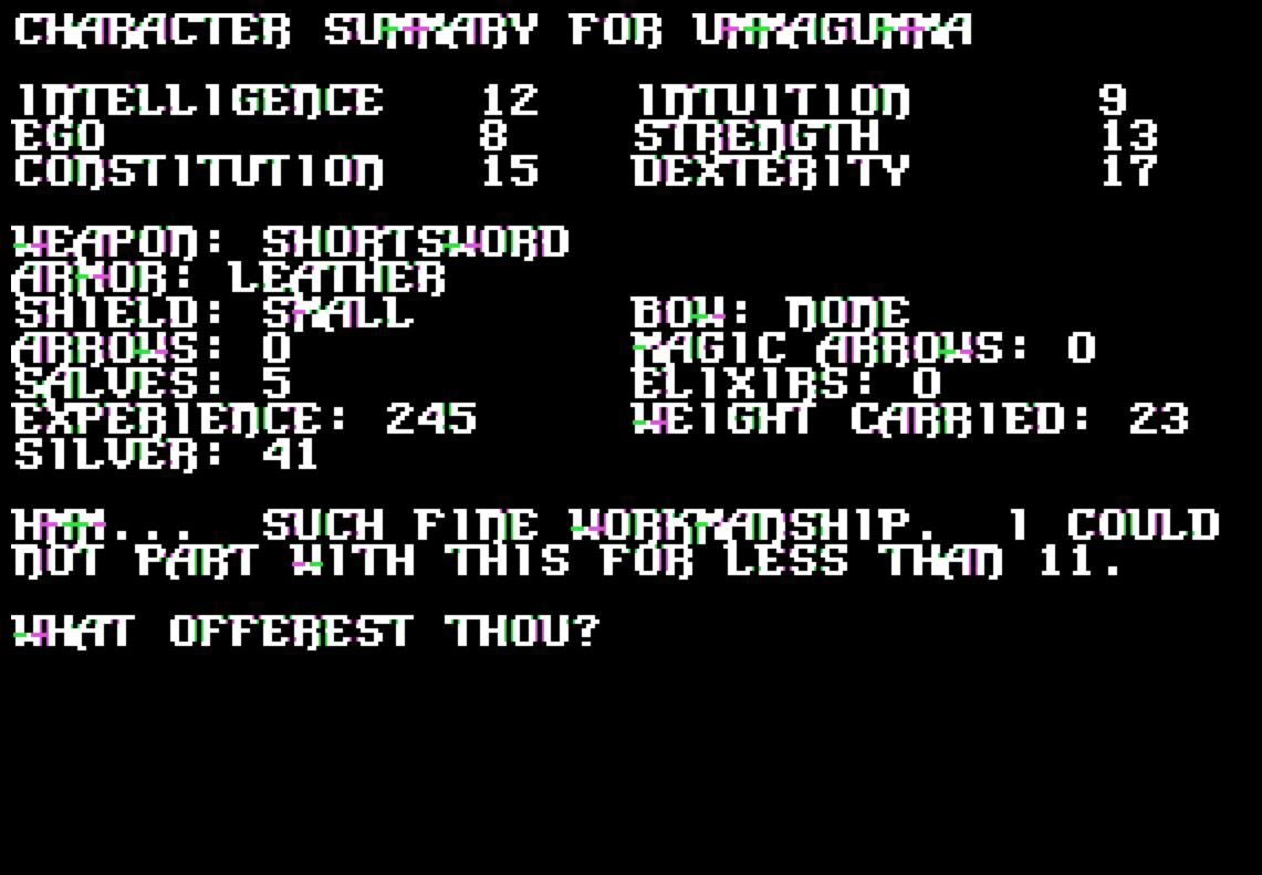 Snap of Temple of Apshai, Trilogy edition, a computer RPG for the Apple II by Epyx 1985