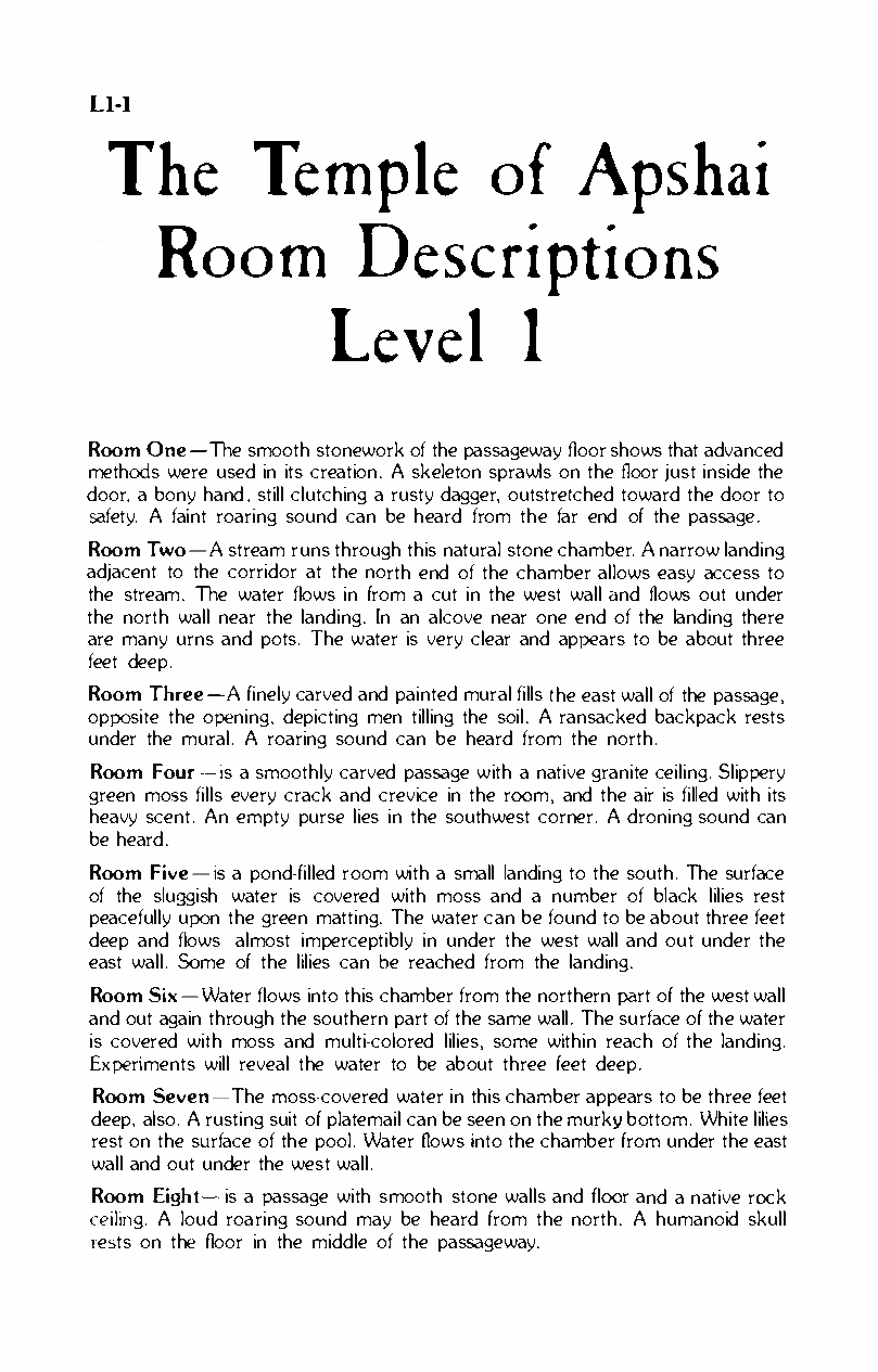 Clip of the room descriptions included in the computer RPG Temple of Apshai, by Automated Simulations