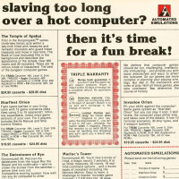 1980 ad for Automated Simulations, an early computer game company