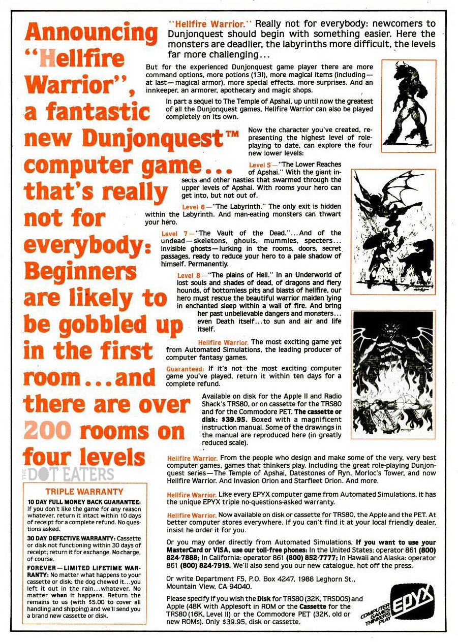 Ad for Hellfire Warrior, a computer role playing game by Automated Simulations 1981