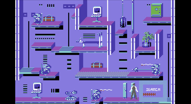 Snap of Impossible Mission II, a computer game for the C64 by Epyx 1988
