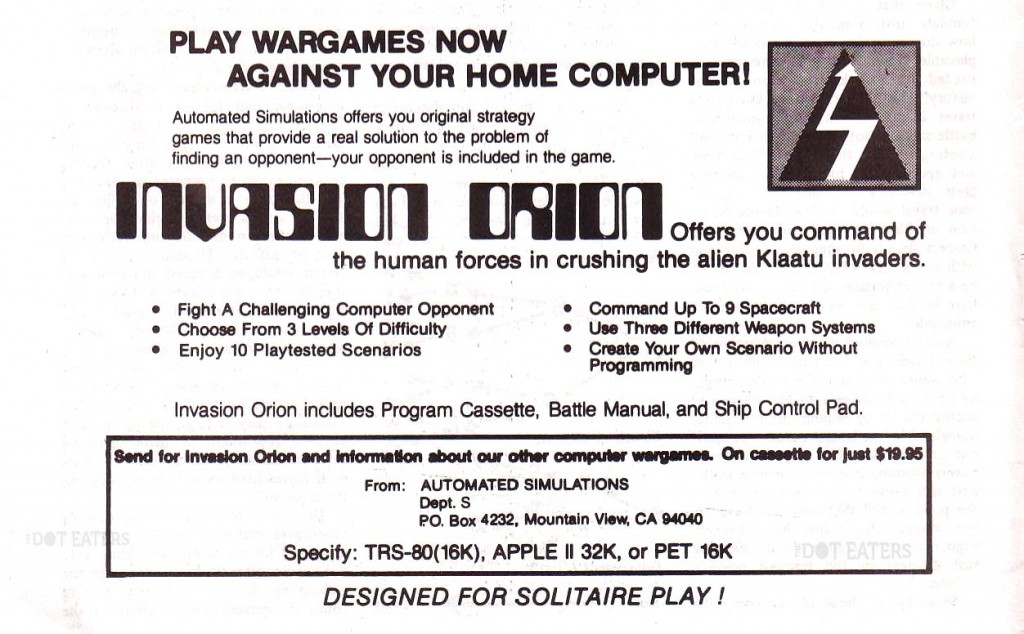 Ad for computer video game Invasion Orion